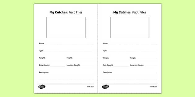 My Catches Fact File Activity Sheet Pack, worksheet