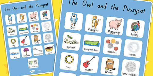 The Owl and the Pussycat Vocabulary Poster - vocab, display, poem