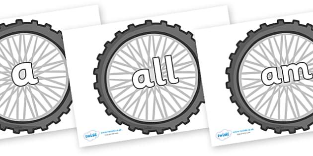 Foundation Stage 2 Keywords on Bike Wheels - FS2, CLL, keywords, Communication language and literacy,  Display, Key words, high frequency words, foundation stage literacy, DfES Letters and Sounds, Letters and Sounds, spelling