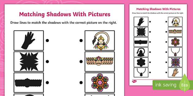 Diwali Shadow Matching Activity Sheet - hinduism, religion, match, worksheet
