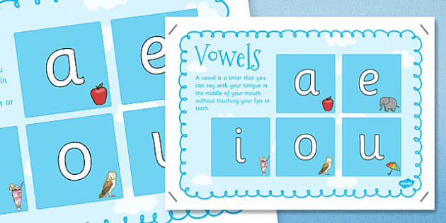 Vowels Poster - posters, display, displays, literacy, english