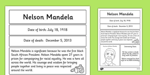 Nelson Mandela Significant Individual Fact Sheet - fact sheet