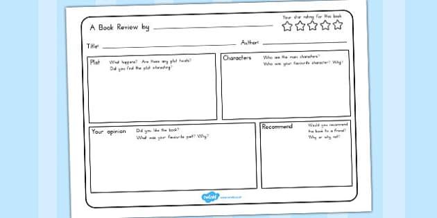 Book Review Writing Template - australia, book, review, write