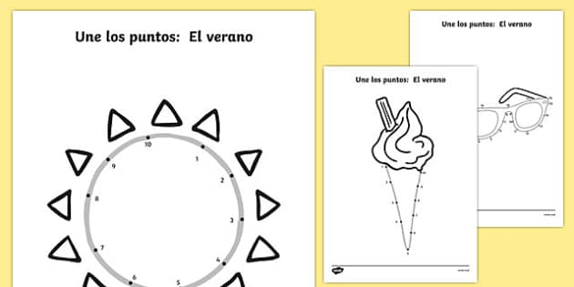 Une los puntos: El verano Summer Dot-To-Dots Spanish - spanish, EYFS, Early Years, counting, fine motor skills, summer, holidays, dot-to-dot