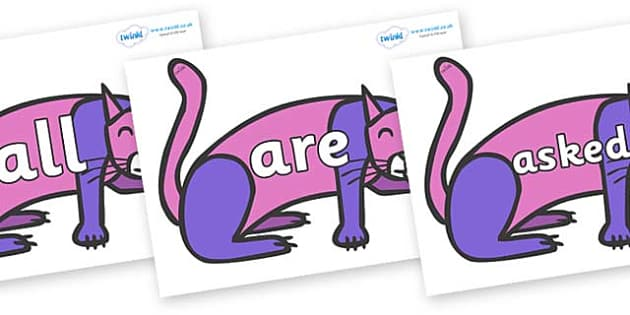 Tricky Words on Purple Cat to Support Teaching on Brown Bear, Brown Bear - Tricky words, DfES Letters and Sounds, Letters and sounds, display, words