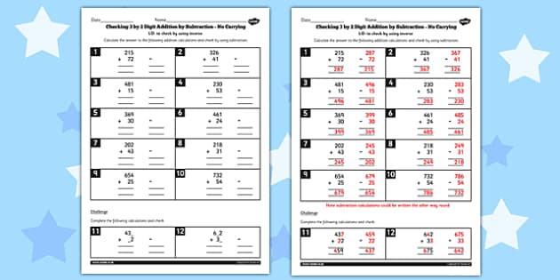 Y3 Inverse Check 3 Digit 2 Addition Subtraction no Carry Sheet