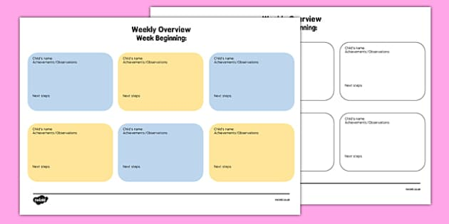 Weekly Overview Form for Childminders - weekly overview, form, childminders, overview