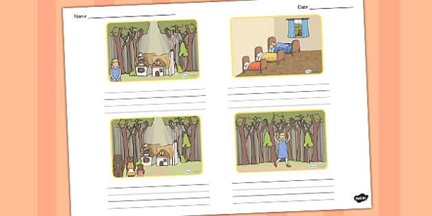 Goldilocks and the Three Bears Storyboard Template - storyboard