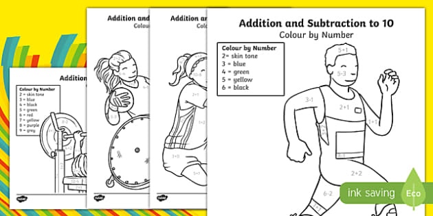Paralympics Addition and Subtraction to 10 Colour by Number