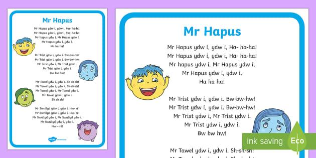 Hwiangerdd 'Mr Hapus' Song Lyrics Welsh - Caneuon, Mr Hapus, Mr Trist, Mr Tawel, Mr Swnllyd,Welsh