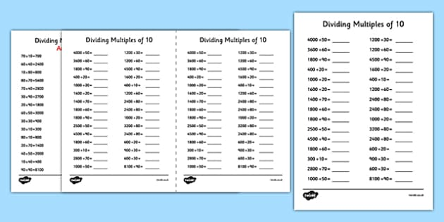 Dividing Multiples of 10 Using Known Facts A5 Activity Sheet - dividing, multiples, 10, known facts, activity, sheet, worksheet