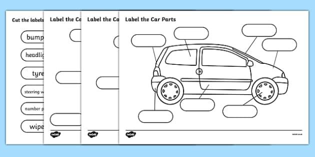 Label The Car Parts - car, cars, parts of the car, label, labelling, parts, bits, window, door, bumper