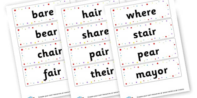 air Extended Code Word Cards - Words & Vocab Primary Resources, literacy, keywords, cvc, phonemes