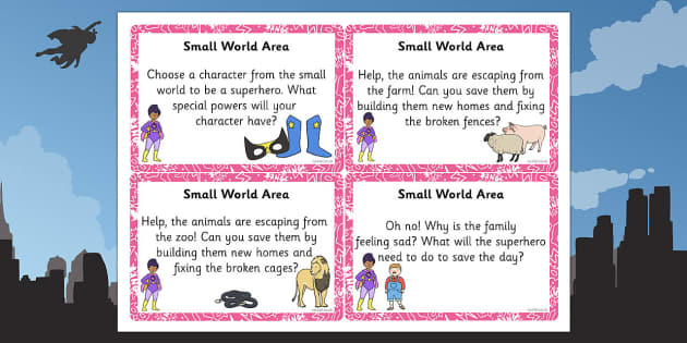 EYFS Superhero Themed Small World Area Challenge Cards - eyfs