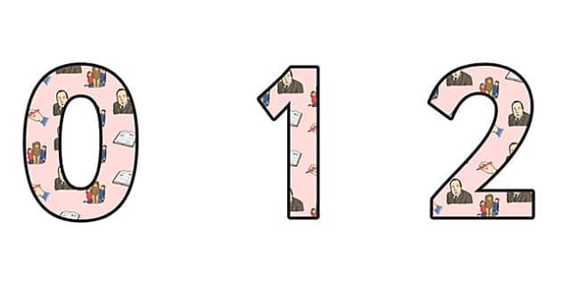 CS Lewis Themed A4 Display Numbers - CS Lewis, display numbers, themed number, classroom number, numbers for display, a4 number, numbers for display