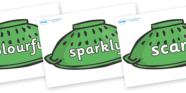 Wow Words on Colander Helmets to Support Teaching on Whatever Next! - Wow words, adjectives, VCOP, describing, Wow, display, poster, wow display, tasty, scary, ugly, beautiful, colourful sharp, bouncy