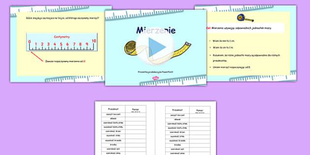 Mierzenie Prezentacja PowePoint z arkuszami po polsku  - polish, measurements, powerpoint, measurements powerpoint, worksheets, measurement worksheets, maths