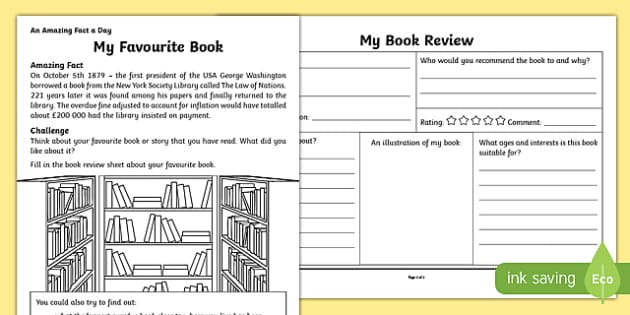 Favourite Book Activity Sheet worksheet – Book Review Worksheet