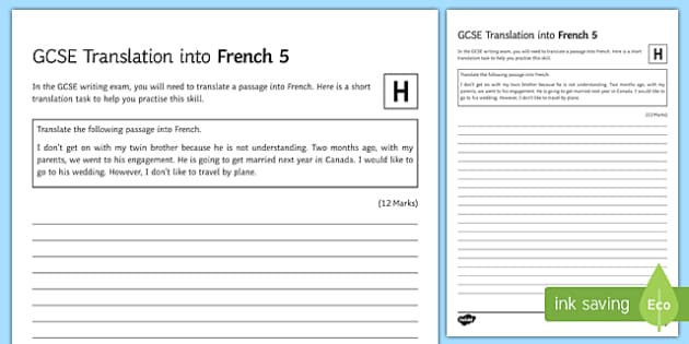 GCSE French Translation into French 5 Higher Tier Activity Sheet-French