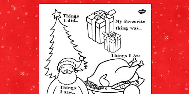 All About My Christmas Writing Frame - christmas, all about, writing frame