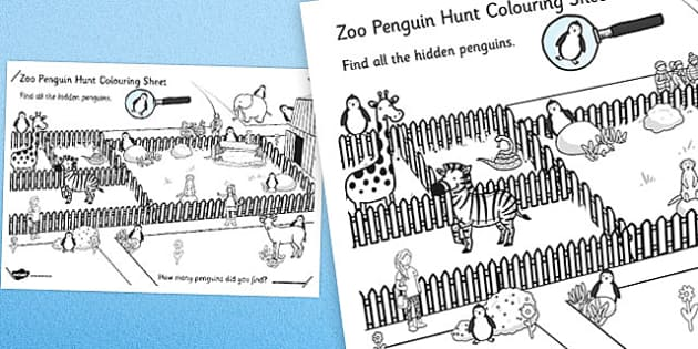 Zoo Penguin Hunt Large Colouring Sheet - zoo, penguin, hunt