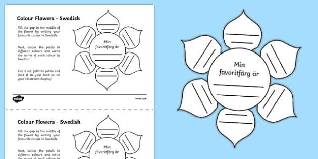 MFL Swedish Colour Flowers Activity Sheet, worksheet