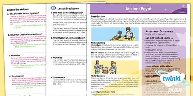 PlanIt - History LKS2 - Ancient Egypt Planning Overview CfE - planit, history, overview, cfe