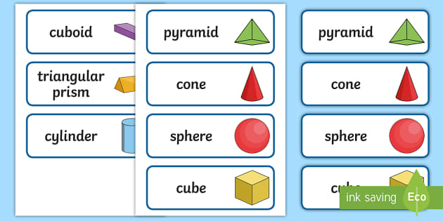 3D Shape Word Cards - 3D Shape names, Shape Flashcards, Shape Pictures, Shape Words, 3D flashcards, numeracy, geometry, shapes, 3d, flash cards