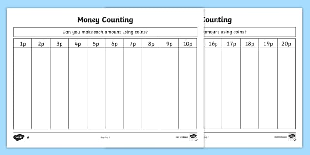 Money Counting and Sorting Activity Sheet - money, money