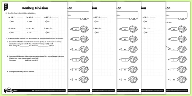 Short Division Activity Sheets - Y4 Multiplication and Division Planit Maths, multiply, groups of, lots of, product, times, sets of,
