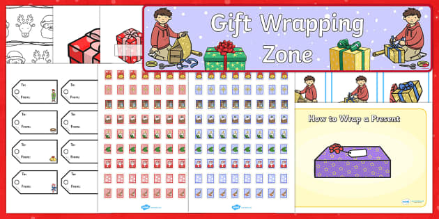 Gift Wrapping Zone Resource Pack - Post office, role play, gift wrapping, wrapping presents, wrapping paper, stamps, wrapping zone