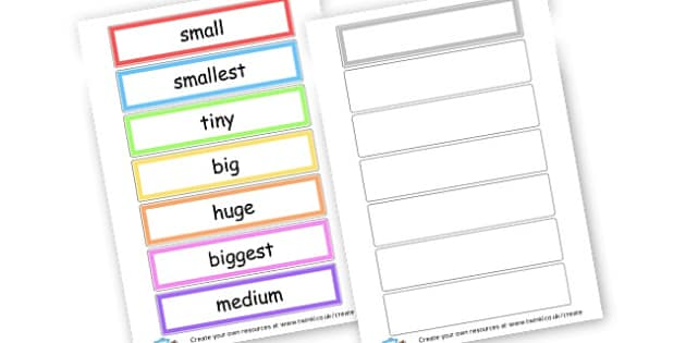 Size Cards - Measuring, Size & Weight Primary Resources, shapes, shape, space