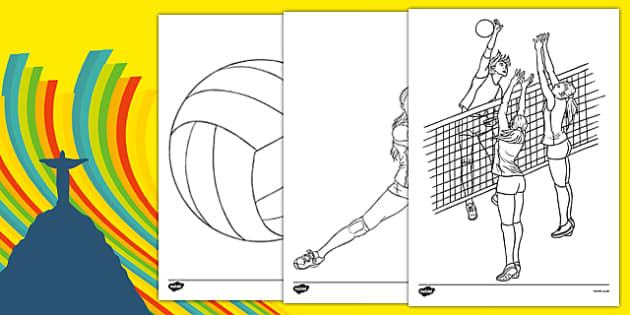 The Olympics Volleyball Colouring Sheets - Volleyball, Olympics, Olympic Games, sports, Olympic, London, 2012, colouring, fine motor skills, poster, worksheet, vines, A4, display, activity, Olympic torch, events, flag, countries, medal, Olympic Rings