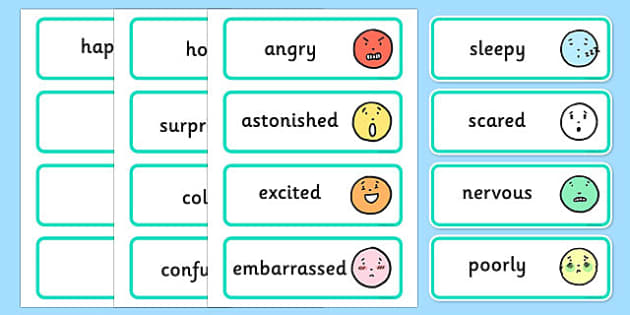 Large Simple Emotions and Feelings Word Cards - large, simple, emotions, feelings, word, cards, word cards, simple emotions, simple feelings, body
