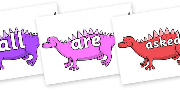 Tricky Words on Scelidosaurus - Tricky words, DfES Letters and Sounds, Letters and sounds, display, words
