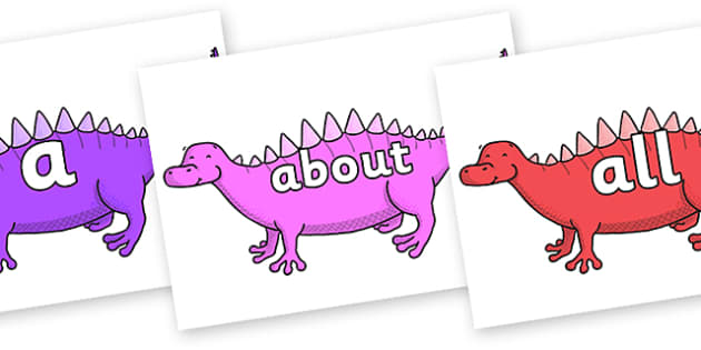 100 High Frequency Words on Scelidosaurus - High frequency words, hfw, DfES Letters and Sounds, Letters and Sounds, display words