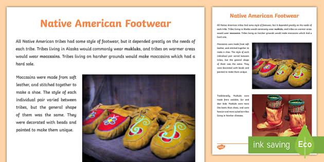 Native Americans Footwear Information Sheet - Native Americans, mocassins, mukluks ,Scottish