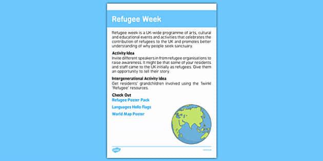 Elderly Care Calendar Planning June 2016 Refugee Week - Elderly Care, Calendar Planning, Care Homes, Activity Co-ordinators, Support, June 2016