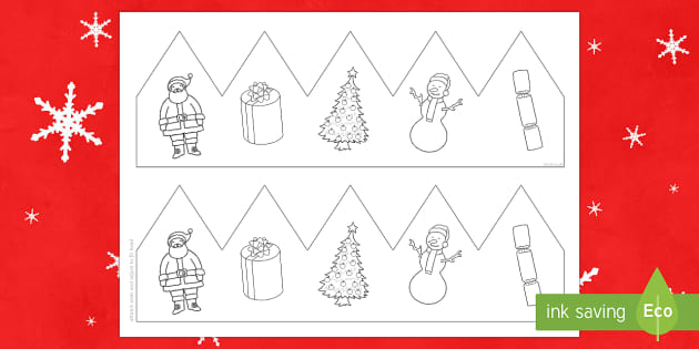 Christmas Pictures Party Hat Template Activity