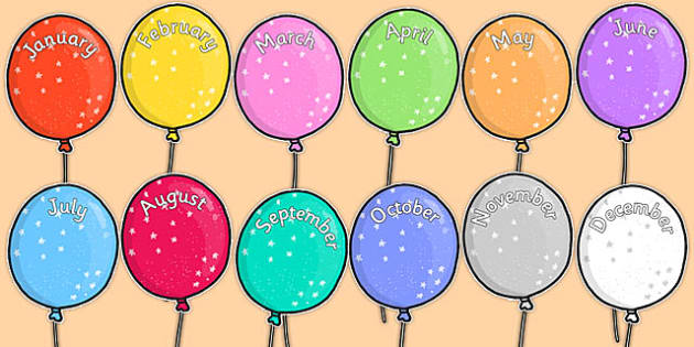 Editable Month Balloons - editable, month, balloons, display