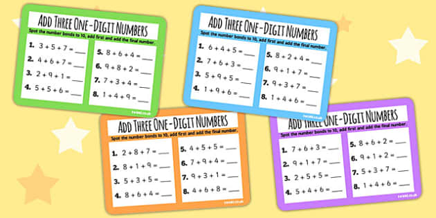 Add Three One Digit Numbers Number Bonds to 10 KS1 Math Challenge
