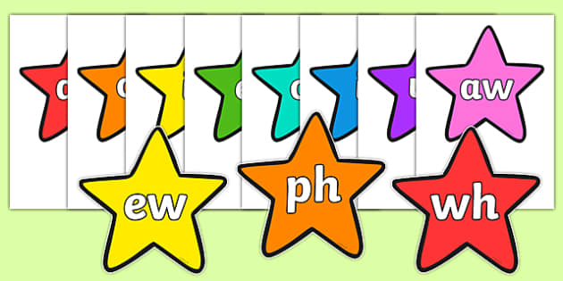 Phase 5 Phonemes on Multicolour Stars - phase 5, phonemes, stars, multicolour