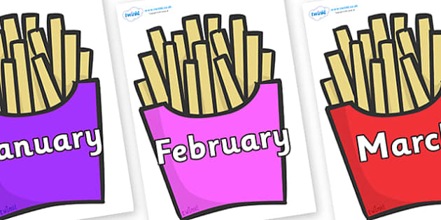 Months of the Year on French Fries - Months of the Year, Months poster, Months display, display, poster, frieze, Months, month, January, February, March, April, May, June, July, August, September