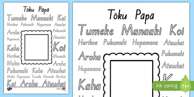 Tōku Pāpa Words Colouring Page