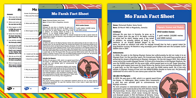 Great British Olympians: Mo Farah Differentiated Reading Comprehension Activity
