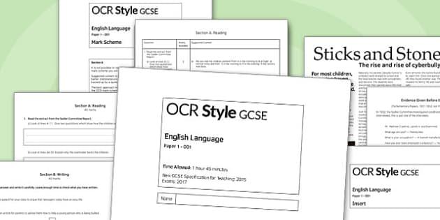 GCSE English Language Exam Paper 1 OCR - gcse, english, language, exam