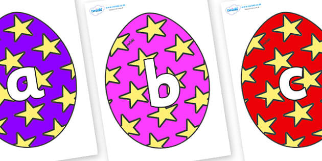 Phoneme Set on Easter Eggs (Stars) - Phoneme set, phonemes, phoneme, Letters and Sounds, DfES, display, Phase 1, Phase 2, Phase 3, Phase 5, Foundation, Literacy
