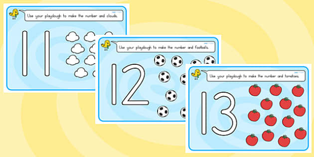 Number Playdough Mats 11 20 - fine motor skills, 11-20, playdough