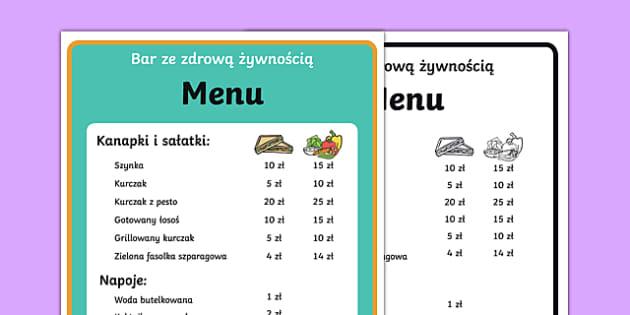 Healthy Eating Cafe Role Play Menu Polish-Polish