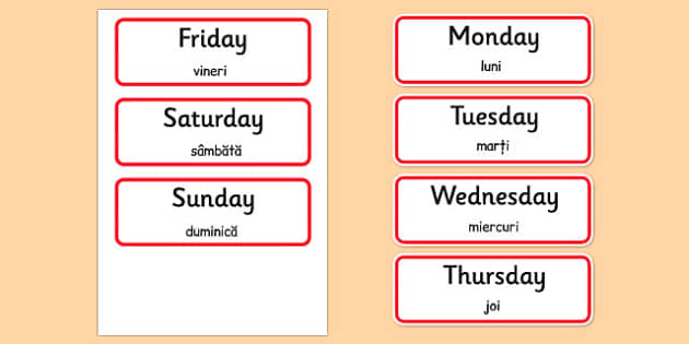 Days of the Week Word Cards Romanian Translation - romanian, days, week, word cards, word, cards